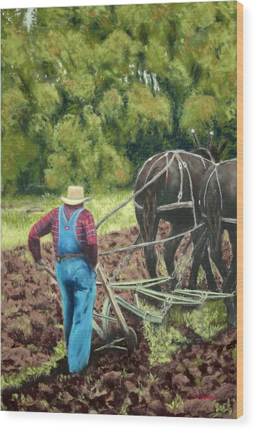 Sod Buster Wood Print by Carl Capps