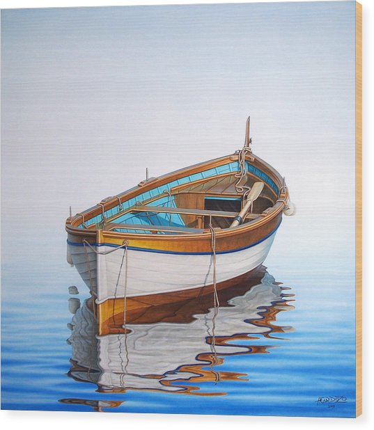 Solitary Boat On The Sea Wood Print