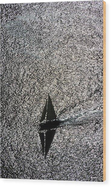 Sailing Into Solitude Wood Print