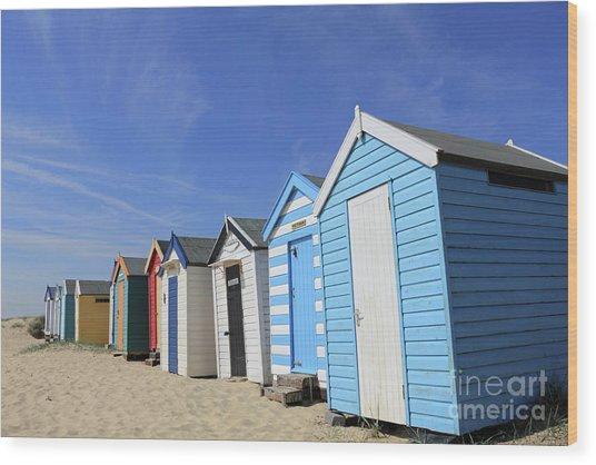 Southwold Beach Huts Wood Print