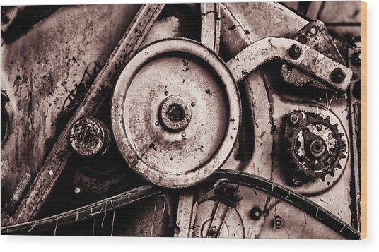 Soviet Ussr Combine Harvester Abstract Cogs In Monochrome Wood Print
