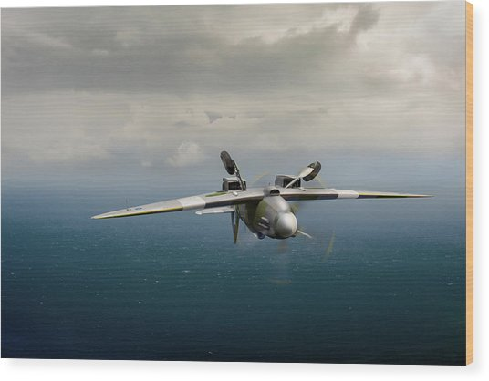 Wood Print featuring the photograph Spitfire Pr Xix Ps915 Inverted by Gary Eason