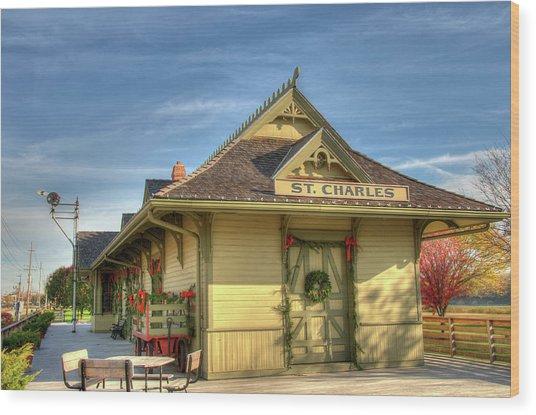 St. Charles Depot Wood Print