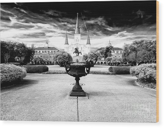 St. Louis Cathedral Drama Wood Print