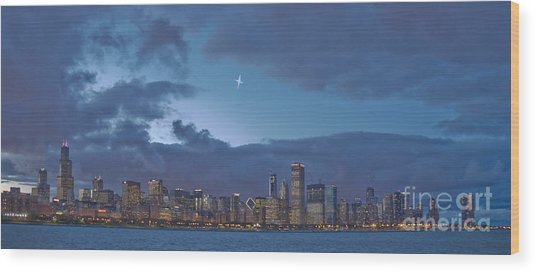 Star Over Chicago Wood Print by Jim Wright