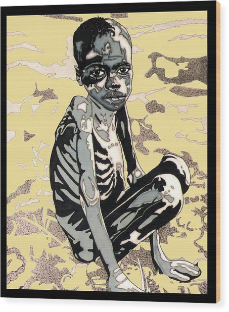 Starving African Boy Wood Print by Gabe Art Inc