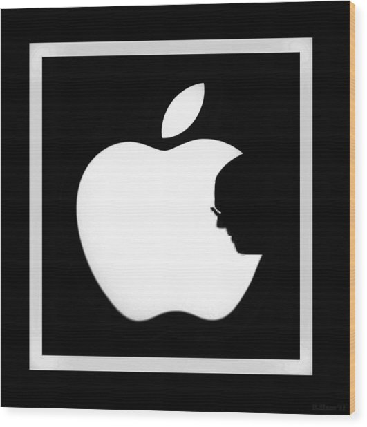 Steve Jobs Apple Wood Print