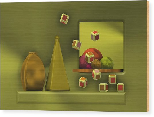 Still Life With Cubes Wood Print