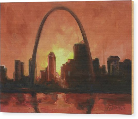 St.louis Downtown - Sunset Wood Print