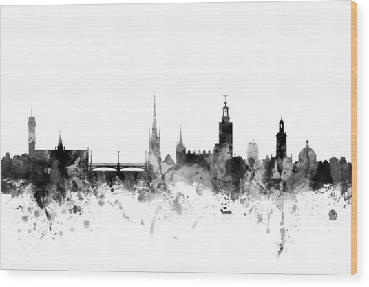 Stockholm Sweden Skyline Wood Print