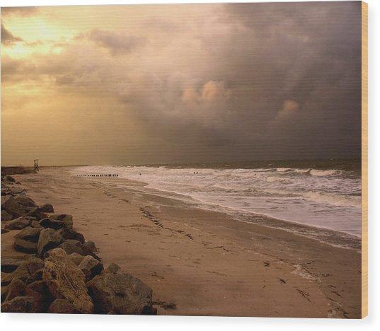 Storm On The Beach Wood Print by Paul Boroznoff