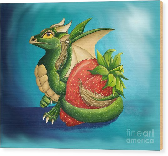 Wood Print featuring the painting Strawberry Dragon by Mary Hoy