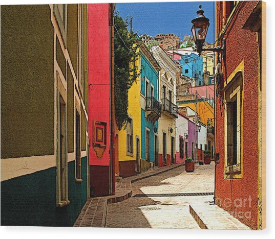 Street Of Color Guanajuato 2 Wood Print by Mexicolors Art Photography