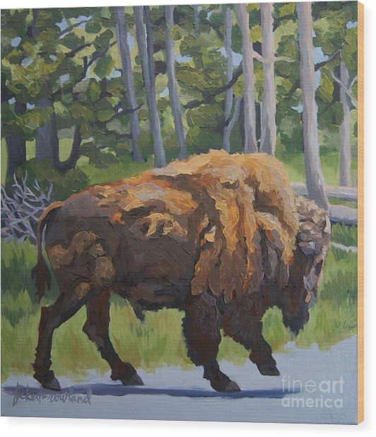 Wood Print featuring the painting Strutting Along, Yellowstone by Erin Fickert-Rowland