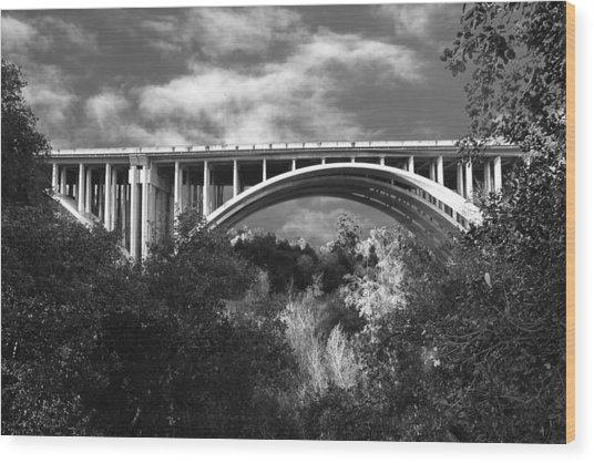 Suicide Bridge Bw Wood Print