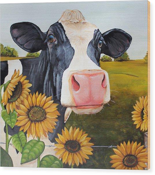 Sunflower Sally Wood Print