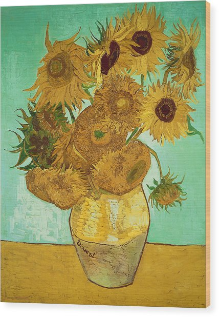Sunflowers By Van Gogh Wood Print