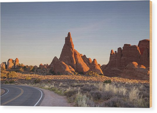 Sunrise In Arches National Park Wood Print