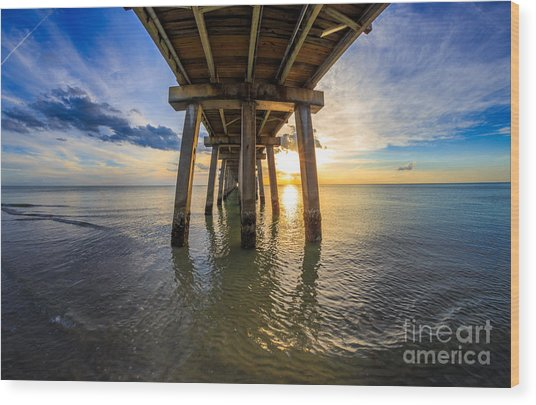 Sunrise Naples Pier Florida Wood Print