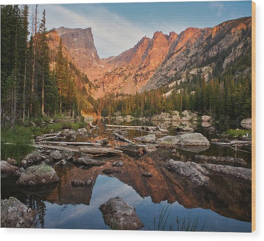 Dream Lake Sunrise Wood Print