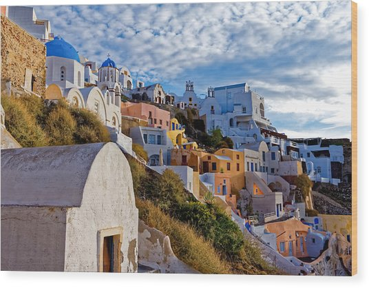 Sunrise Over Oia Wood Print