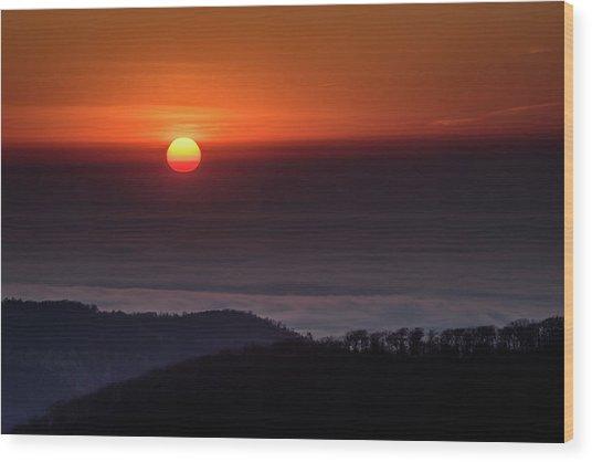 Sunrise Through The Clouds Wood Print