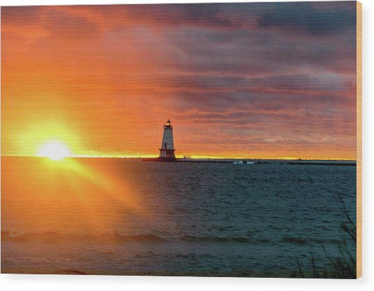 Sunset And Lighthouse Wood Print
