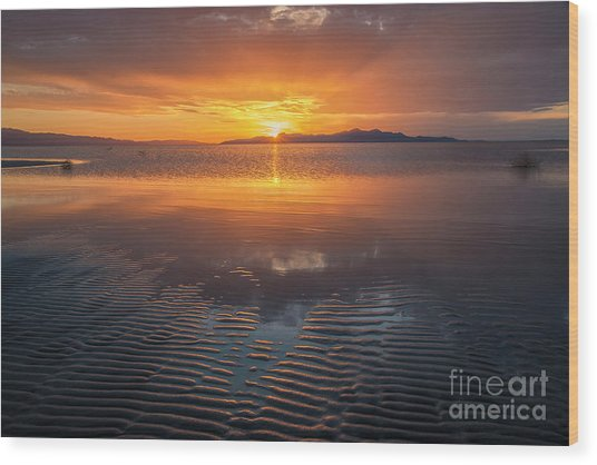 Wood Print featuring the photograph Sunset And Sand Ripples by Spencer Baugh