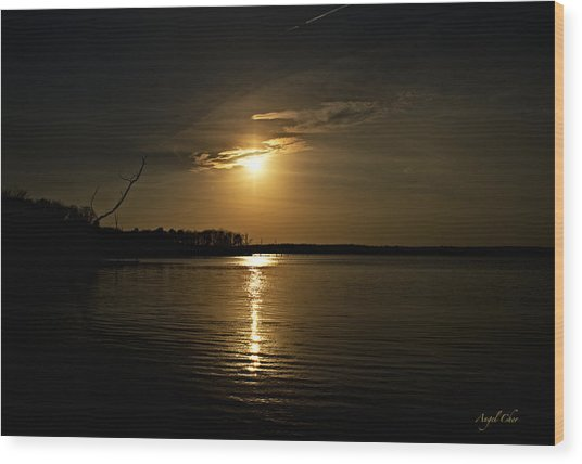 Wood Print featuring the photograph Sunset by Angel Cher