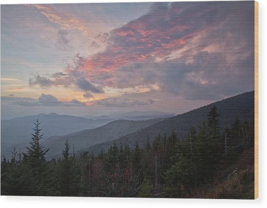 Sunset At Clingman's Dome Wood Print