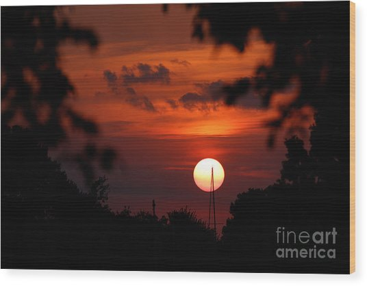 Sunset At Lake Hefner Wood Print