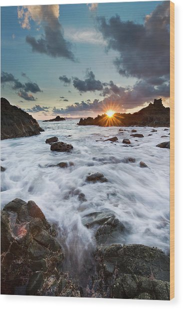 Sunset At Lombok Wood Print