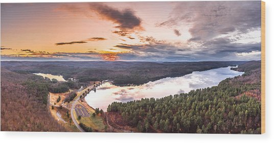 Sunset At Saville Dam - Barkhamsted Reservoir Connecticut Wood Print