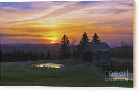 Sunset At The Foster Covered Bridge. Wood Print