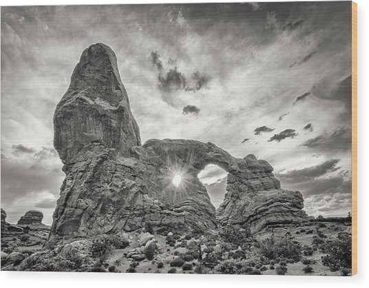 Sunset At Turret Arch Wood Print