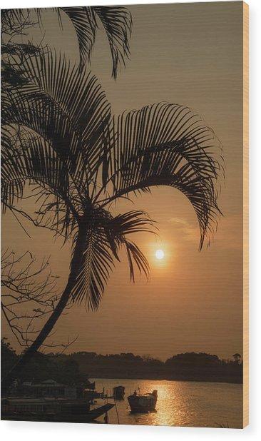 sunset Huong river Wood Print
