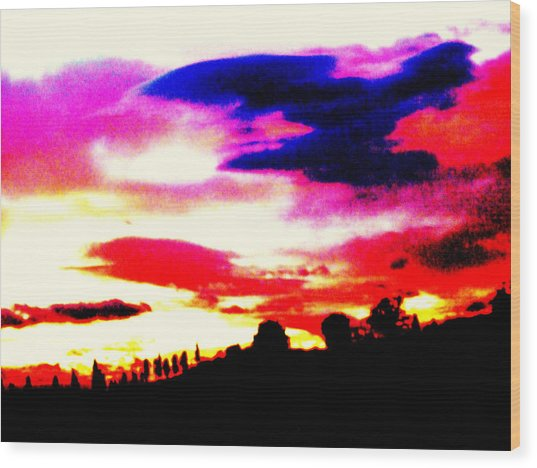 Sunset In Tuscany Wood Print