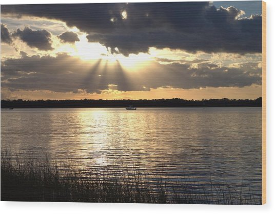Wood Print featuring the photograph Sunset On The Cape Fear River by Willard Killough III