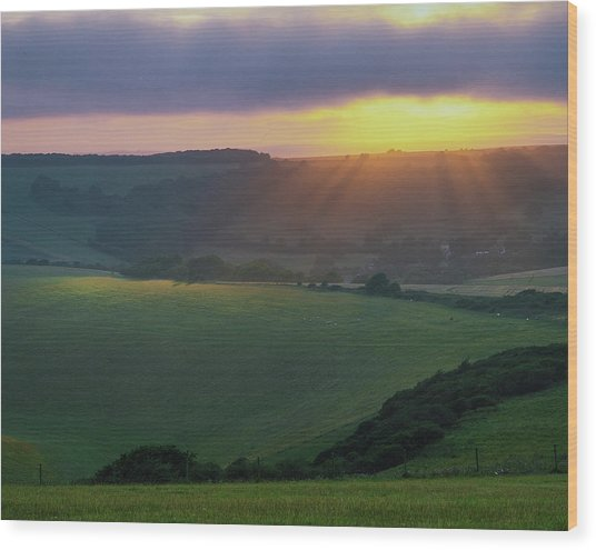 Sunset Over The South Downs Wood Print