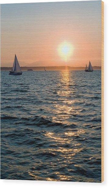 Sunset Sailing Wood Print by Tom Dowd
