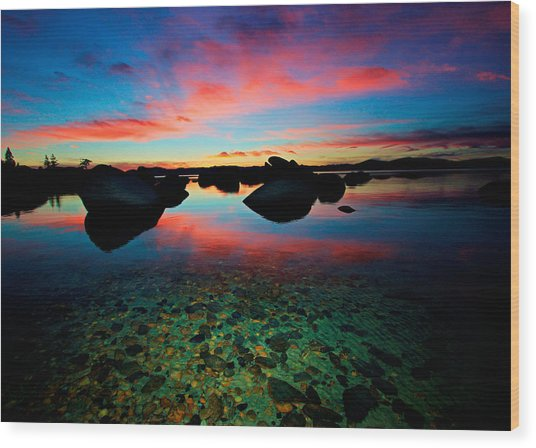 Sunset With A Whale Wood Print