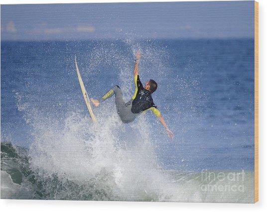 Surfer Wood Print by Marc Bittan