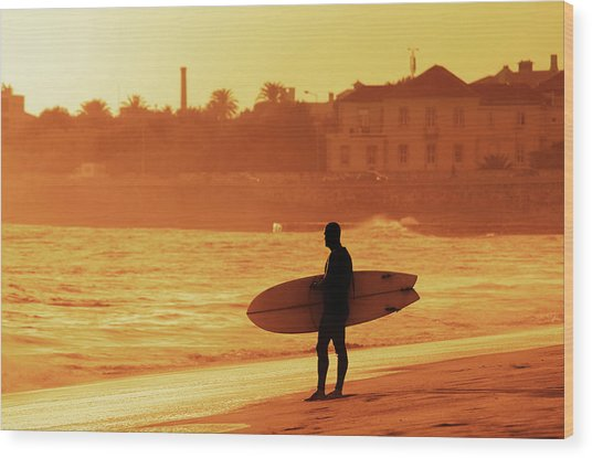 Surfer Silhouette Wood Print