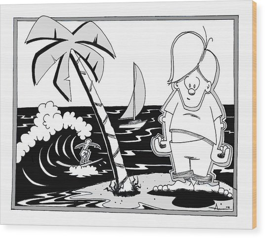 Surfer Toon 4 Wood Print by Aaron Bodtcher
