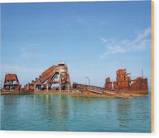 Tangalooma Wrecks Wood Print