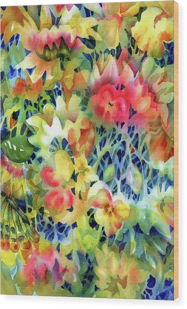 Tangled Blooms Wood Print