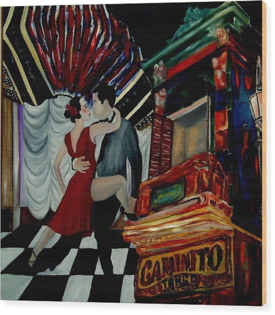 Tango For My Father Wood Print by Andrea Vazquez-Davidson