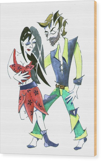 Tango Yoga - Colgada Step - Dancing Couple Wood Print