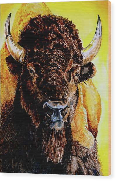 Tatanka Wood Print by Robert M Walker