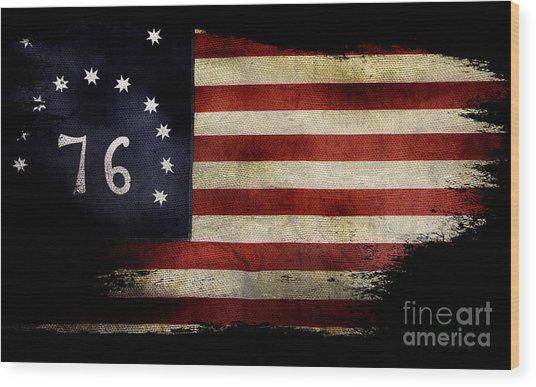 Tattered Bennington Flag Wood Print